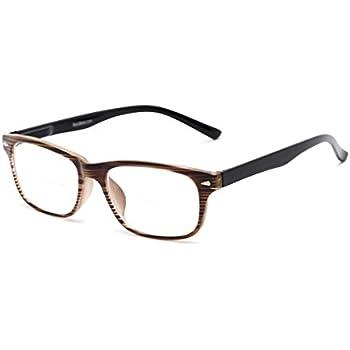 06f133baaa Readers.com Bifocal Reading Glasses  The Williamsburg Bifocal for Men and  Women - Stylish Retro Square Bifocal Readers - Brown Stripe +1.50