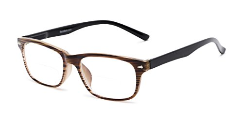 Readers.com Bifocal Reading Glasses: The Williamsburg Bifocal for Men and Women - Stylish Retro Square Bifocal Readers - Brown Stripe +2.00