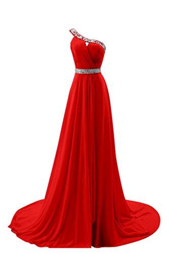 Lang Abendkleid Linie Ballkleid Schulter Bride A Rot Schleppe Ein Z Festkleid Gorgeous Chiffon Elegant q0wSRvvf