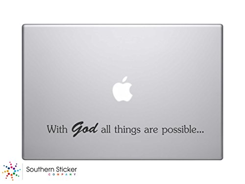 With God All Things Are Possible Text Bible Verse Vinyl Car Sticker Silhouette Keypad Track Pad Decal Laptop Skin Ipad Macbook Window Truck - Laptop Verse Decals Bible