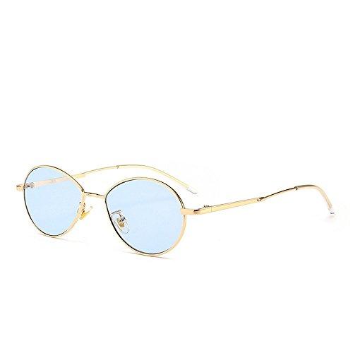 Té Marcos Anteojos Sol Redondos Pequeños Mujer azul Marco De Metal De Sol JUNHONGZHANG dorado Enmarcado Gafas Moda Gafas De Golden Pin zcCqT