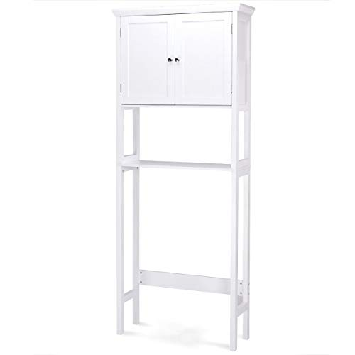 - Giantex Over-The-Toilet Bathroom Storage Space Saver with Shelf Collect Cabinet, White (2 Door w/Open Rack)