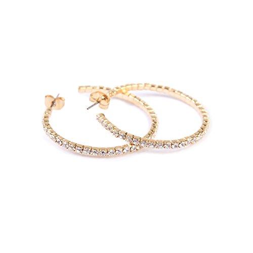 Riah Fashion Women's Memory Wire Petite Rhinestone Hoop Earrings (Gold) ()