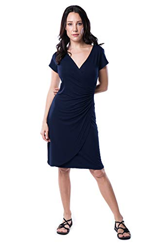 Nanakee Womens Faux Wrap Dress - Short Sleeve Slimming Tummy Control V Neck Knit Dress - Navy Blue - ()