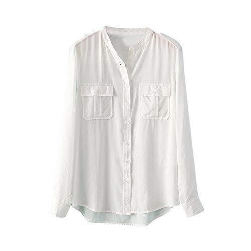 Clearance Women Tops LuluZanm Button Stand Cardigan T-Shirt Blouse Women Solid Office Long Sleeve Tops