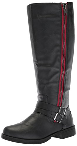 Brinley Co Women's Fulton Knee High Boot, Black/Red, 11 Regular US