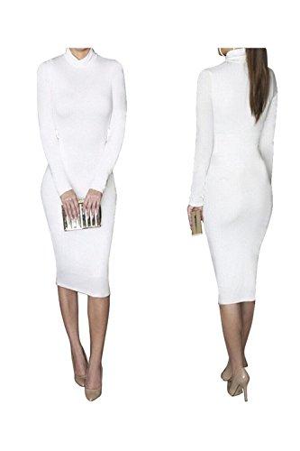 Bess Bridal Women Turtleneck Long Sleeve Stretch Christmas Party Club Midi Dress,XX-Large,White (Cheap Club Dresses Under $10)