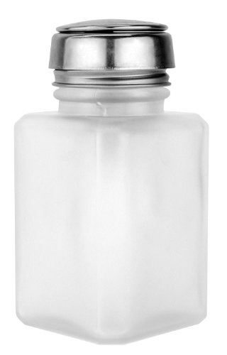 Menda 35361 ONE-TOUCH- SS-SQUARE GLASS CLEAR FROSTED- 4 OZ Dispensing Bottle (Pump Menda)