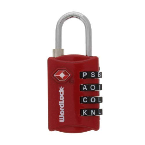 (Wordlock LL-206-RD TSA Approved Combination Luggage Lock – 4 Dial, Red)