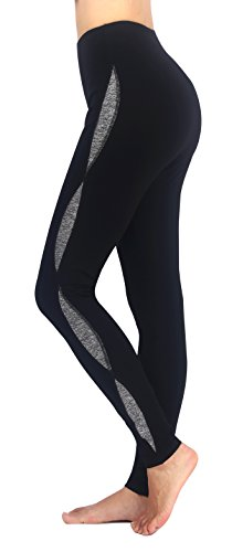 Neonysweets Women s Workout Leggings Running Yoga Pants Athletic Tights Black Gray S