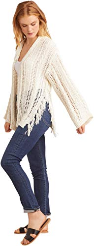 cupcakes and cashmere Women's Rosewood Drop Needle Cardigan with Tassel Details, Oatmeal, Small