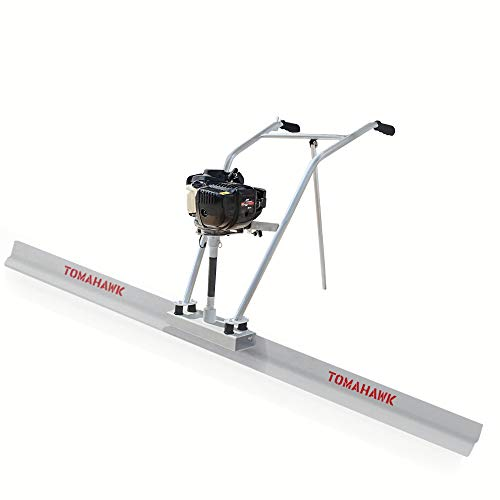 TOMAHAWK 37.7cc Gas Concrete Power Screed Cement Finishing Vibrating Motor with 10ft Aluminum Board Straight Edge Bar Set