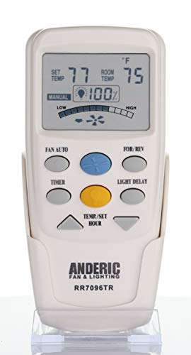 Anderic Replacement for Hampton Bay CHQ7096T with Reverse Key Thermostatic Remote Control for Hampton Bay Ceiling Fans (FCC ID: CHQ7096T, UC7096T, CHQ8BF7096T, CHQ8BT7096T) - RR7096TR