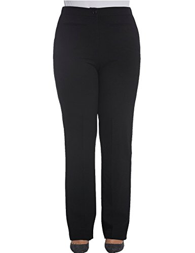 Chicwe Women's Plus Size Work Pants Trousers Curvy Fit Bootcut 16, Black Back Zip Stretch Trousers