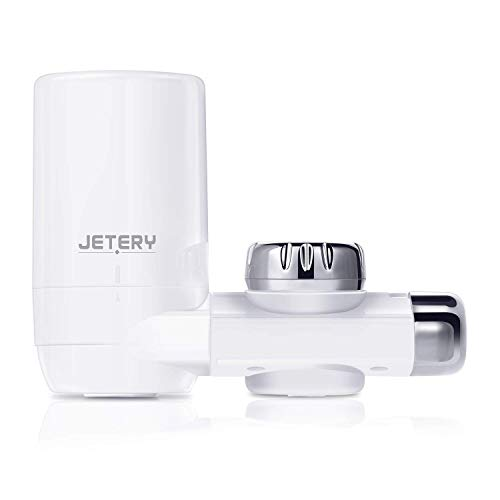 (JETERY Faucet Water Filter - 320-Gallon Long-Lasting Tap Water Filtration System with Carbon Fiber Filter for Home Kitchen, Fits Standard Faucets, JT-5110)