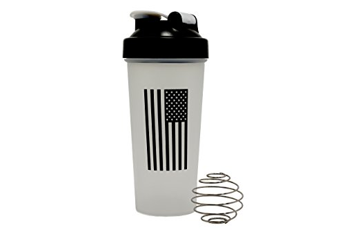 - Single Source Direct American Flag Black and White Classic Shaker Bottle, Military Protein Mixer Bottle, 28oz Supplement Shaker