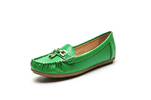 Fashion Colorful Causal Slip on Loafers Moccasin Walking Driving Indoor Flat Shoes for Women, Allison Green Size 8.5]()