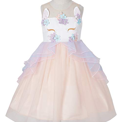 (Little.Elf Unicorn Costume Dress Pageant Party Dresses Flower Evening)