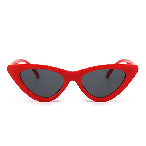 Retro Clout Goggles Cateye Sunglasses Cute Plastic Tinted Lens Eyeglasses Women (Red / - Eyeglasses Plastic Red