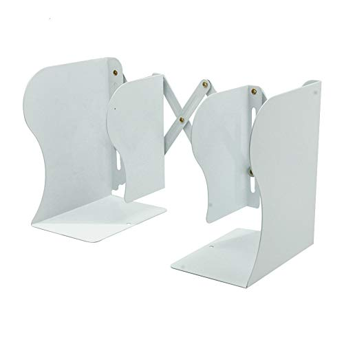Gorse White Decorative Bookends Heavy Duty Adjustable Books Holder Stand Desk Nonskid Bookend Metal (White x) by Gorse