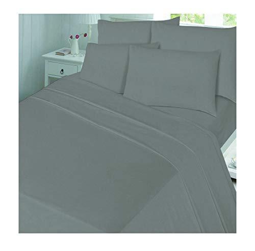 Rimi Hanger Luxury Plain Color 100% Brushed Cotton Thermal Flannelette Cot Duvet Cover Set Grey Cot Pillow Case One Size