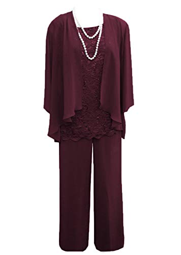 Women's 3 Pieces Lace Chiffon Mother of Bride Dress Pant Suits with Jacket Outfit for Wedding Groom(US 16, Burgundy) ()