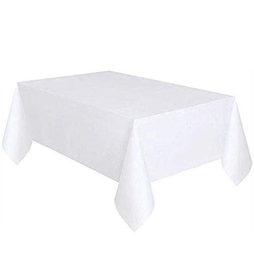 Ownest 12 Pack Premium Disposable Plastic Tablecloth Table Cover for Square Tables 54 inch x 108 inch- White ()