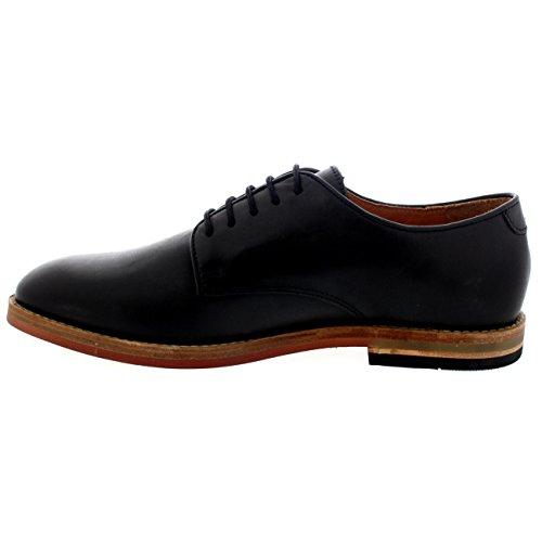 Mens H Door Hudson Kannur Flat Leather Office Veterschoenen Casual Schoenen Zwart