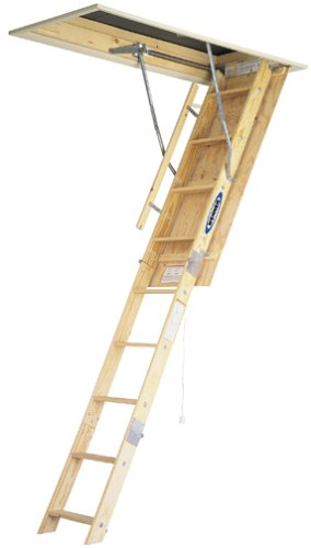 werner w2210 250 pound duty rating wood folding attic ladder 10 foot - Werner Attic Stairs