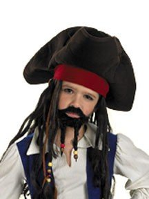 [Child Deluxe Pirate Hat with Moustache and Goatee] (Pirate Hair)