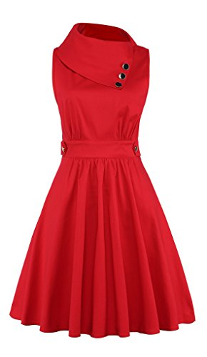 Elf Queen Women's Elegant Vintage 1950's Cocktail Party Wedding Evening Dress US Size L Red