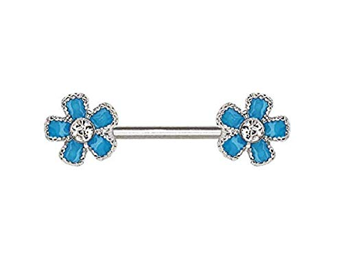 - Freedom Fashion 316L Surgical Steel Jeweled Teal Blue Flower Nipple Bar (Sold by Piece)