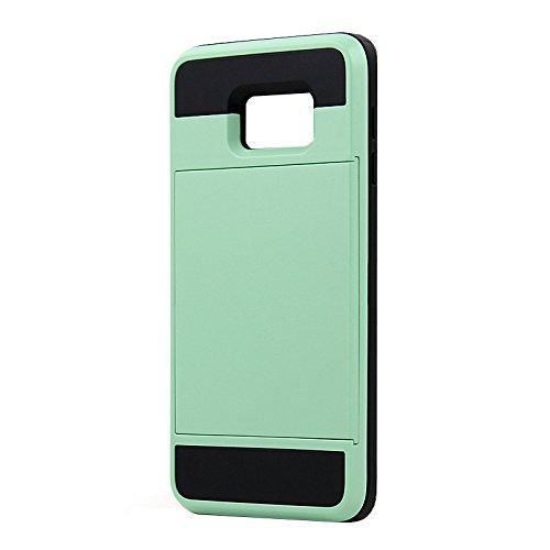 Telefon-Kasten - SODIAL(R)Karte Tasche Stossfeste Duenne Hybrid Mappe Abdeckung fuer Samsung Galaxy S6 Edge Plus MintGruen