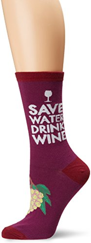 K. Bell Women's Play on Words Novelty Casual Crew Socks, Save Water Drink Wine (Purple), Shoe Size: 4-10