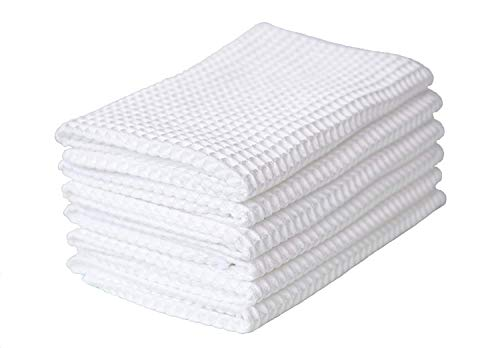 acial Cloths Face Cleansing Towels Reusable Deep Waffle Weave Fast Drying Washcloth 12inch x 12inch White 6 Pack ()