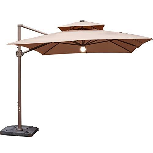 - Abba Patio 9 x 12-Feet Offset Cantilever Solar Lights Patio Hanging Umbrella with Cross Base, Cocoa