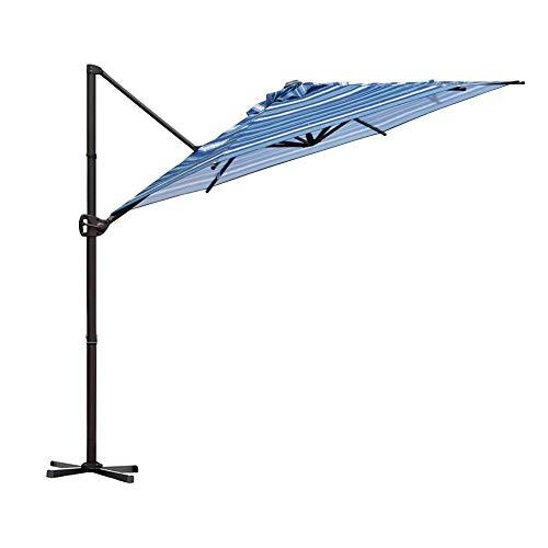 Abba Patio Offset Cantilever 9-Feet Outdoor Patio Hanging Umbrella with Cross Base, Blue Stripe (Umbrella Hanging)