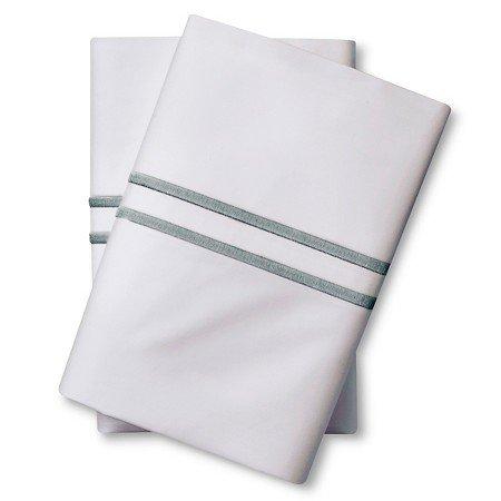New Supima Satin Stitch Hotel Pillowcase Set 300 Thread Count Aqua Spill King
