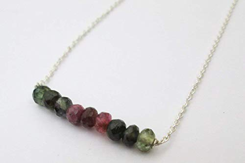 Dainty Tourmaline Bar Necklace Sterling Silver Chain - Watermelon Tourmaline Layering Necklace 16