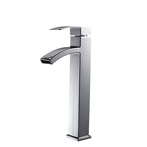 Review LORDEAR Modern Brass Waterfall One Hole Single Handle Chrome Bathroom Lavatory Vanity Tub Ves...
