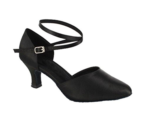 TDA Womens Cross Strap Mid Heel Satin Latin Salsa Ballroom Dance Shoes Black-6cm Heel hcMxq25uUo