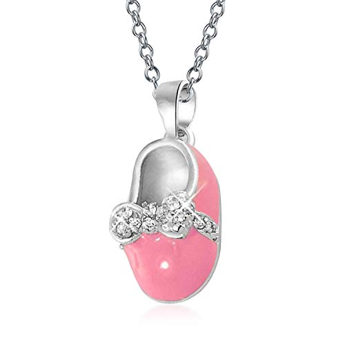 Baby Shoe Charm Pendant Necklace Gift For New Mother Women Pink Enamel Bow Engravable CZ 925 Sterling Silver ()