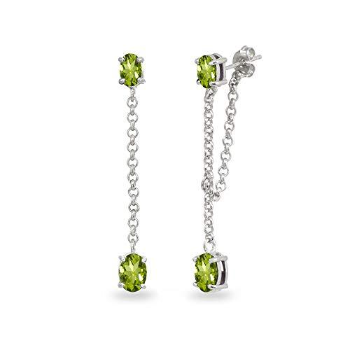 Sterling Silver Peridot Oval Two Stone Bezel-Set Chain Drop Dangle Earrings for Women Teen Girls