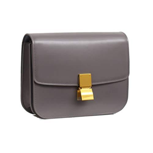 JeHouze Women's Genuine Leather Messenger Crossbody Handbag (Grey)