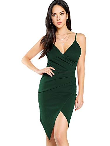 - SheIn Women's Sexy V Neck Spaghetti Strap Ruched Overlap Bodycon Dress Large Green