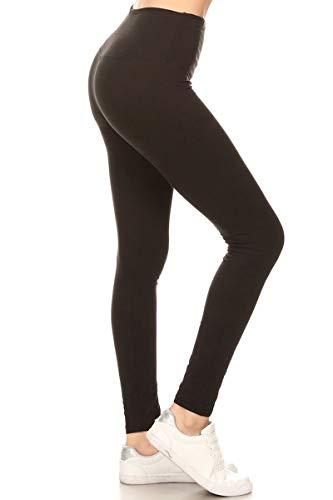 "Leggings Depot Yoga Waist REG/Plus Women's Buttery Soft Workout Gym Leggings (5"" -Waistband Black, One Size (S-L/Size 2-12))"