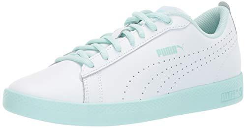 (PUMA Women's Smash V2 Sneaker White-fair Aqua, 10 M US)