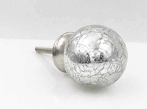 Dome Knobs Acrylic (Antique Silver Mercury Glass Dome Dresser Knob, Cabinet Pull)