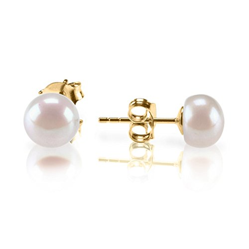 Faux Pearl Button - PAVOI Sterling Silver Freshwater Cultured Stud Pearl Earrings - 5.5mm AAA Quality