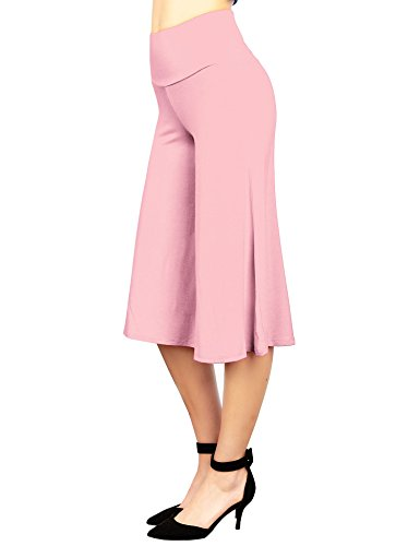 (Made By Johnny WB876 Womens Knit Culottes Pants L Pink)